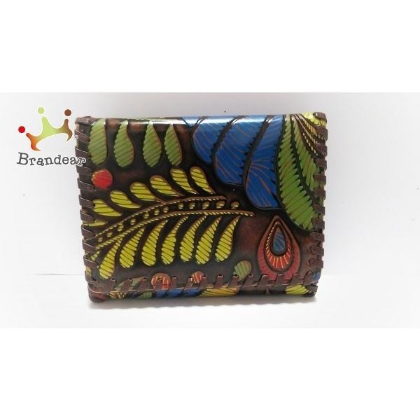 イザベラフィオーレ 3つ折り財布 美品 ダークブラウン×ブルー×マルチ 型押し加工/花柄 レザー 新着 20200916