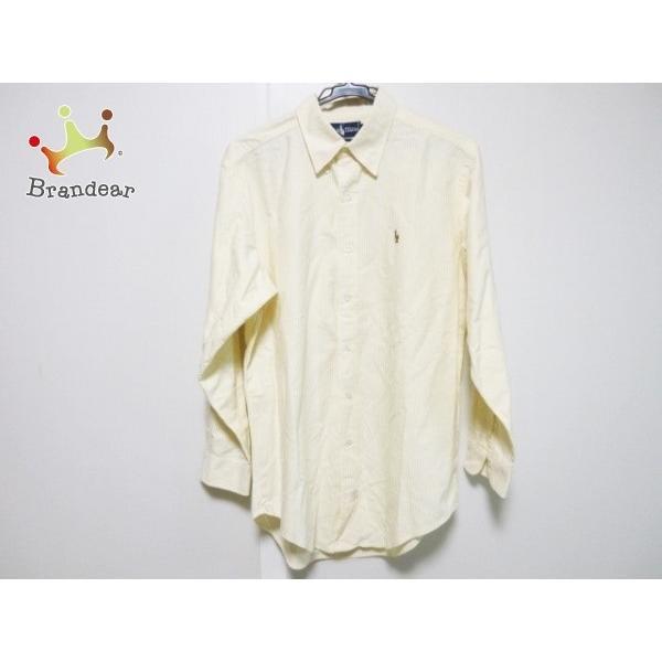 ラルフローレン RalphLauren 長袖シャツ サイズ15 1/2-32 メンズ イエロー×白 ストライプ   スペシャル特価 20191102|brandear