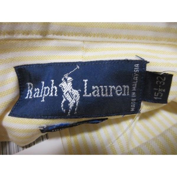ラルフローレン RalphLauren 長袖シャツ サイズ15 1/2-32 メンズ イエロー×白 ストライプ   スペシャル特価 20191102|brandear|03