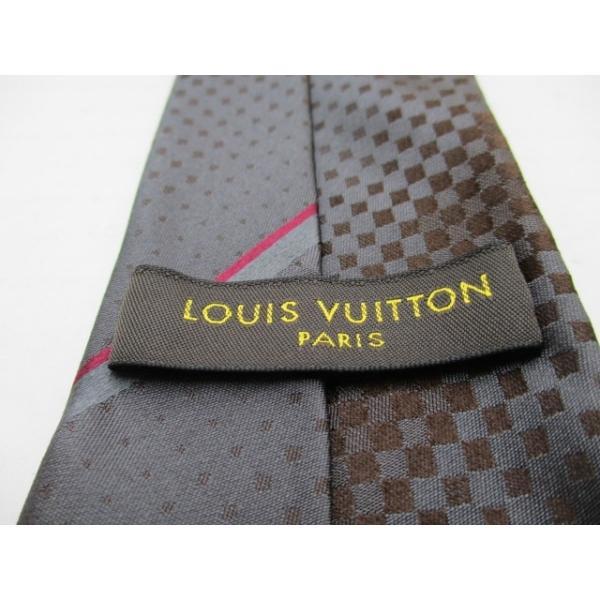 ルイヴィトン LOUIS VUITTON ネクタイ メンズ 新品同様 - ダークグレー×ダークブラウン×ピンク  値下げ 20200831|brandear|03