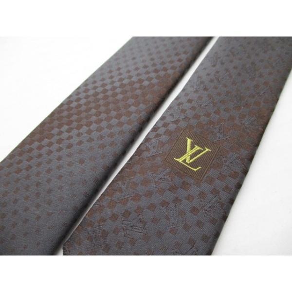 ルイヴィトン LOUIS VUITTON ネクタイ メンズ 新品同様 - ダークグレー×ダークブラウン×ピンク  値下げ 20200831|brandear|05