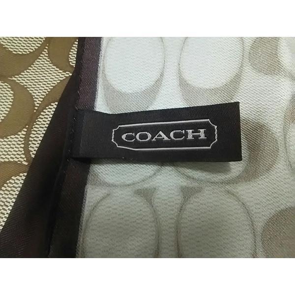 コーチ COACH スカーフ 新品同様 シグネチャー柄 カーキ×ダークブラウン×オレンジ 新着 20200806|brandear|02