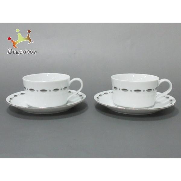 ティファニー TIFFANY&Co. カップ&ソーサー 新品同様 GRAMERCY 白×ダークグレー×グレー 陶器 新着 20200901