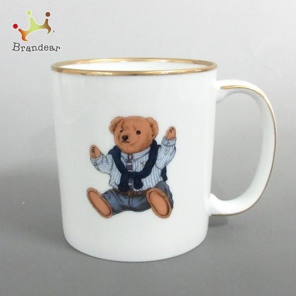 ラルフローレン RalphLauren マグカップ 新品同様 - 白×ベージュ×マルチ POLO BEAR 陶器 新着 20210321