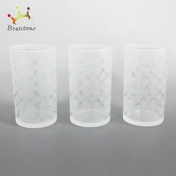 コーチ COACH 食器 新品同様 - クリア×白 グラス×3点 ガラス 新着 20210320