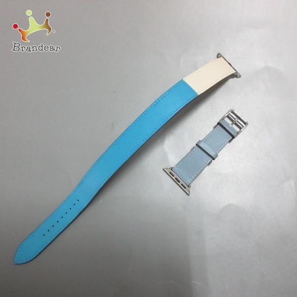 エルメスHERMES美品-ブルー×アイボリー×ブルーグレーレザー新着20210415