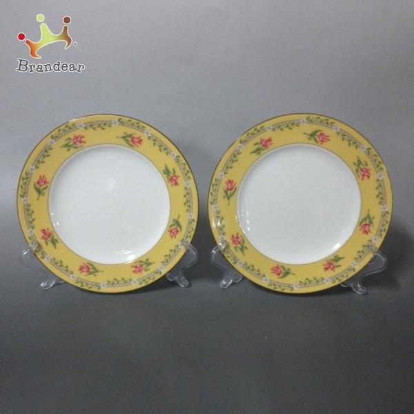 ティファニー 食器 新品同様 ピンクチューリップ 白×イエロー×マルチ プレート×2点 陶器 新着 20210907