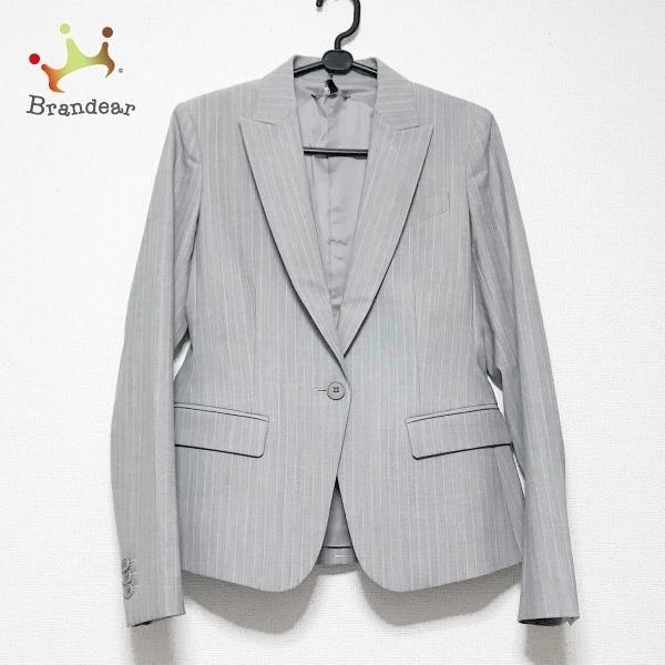 セオリー ジャケット サイズ2 S レディース 新品同様 - ライトグレー×白 長袖/ストライプ/春/秋 新着 20210827