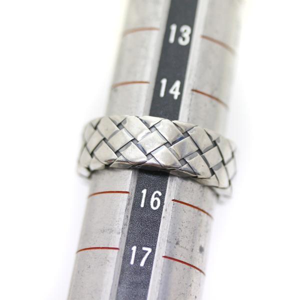 ボッテガヴェネタ イントレチャート  リング・指輪 メンズ シルバー925 アクセサリー 15号 シルバー 200741 中古 送料無料|brandeco|07