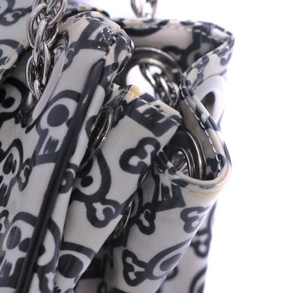 アンテプリマ ドクロプリント チェーン ショルダーバッグ レディース エナメル ホワイト ブラック 中古 送料無料|brandeco|12