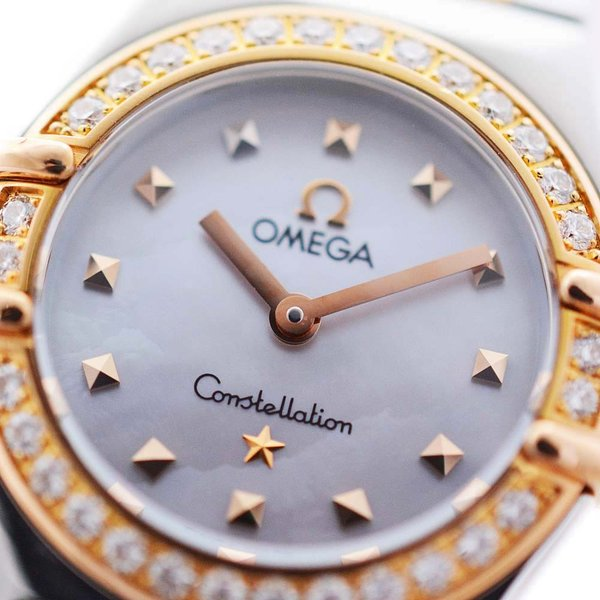 オメガ コンステレーション マイチョイス ダイヤベゼル 腕時計 レディース クオーツ シェル文字盤 コンビカラー 1365.71 中古 送料無料