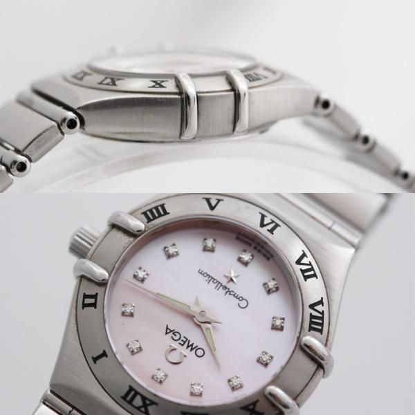 オメガ コンステレーション レディース腕時計 12ポイントダイヤモンド クォーツ 1562.65 電池式 ステンレス ピンクシェル文字盤 シルバー 中古 brandeco 04