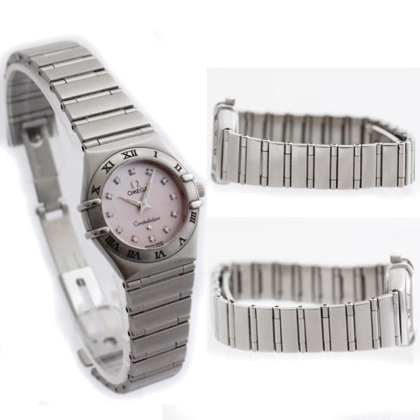 オメガ コンステレーション レディース腕時計 12ポイントダイヤモンド クォーツ 1562.65 電池式 ステンレス ピンクシェル文字盤 シルバー 中古 brandeco 05