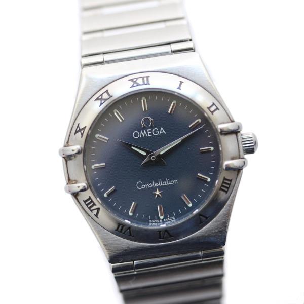 オメガ コンステレーション レディース腕時計 1572.40 クォーツ ステンレス ネイビー文字盤 シルバー 中古