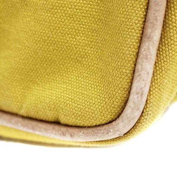 エルメス ボリード 25 化粧バッグ コスメ ポーチ ユニセックス キャンバス レザー イエロー 中古 送料無料