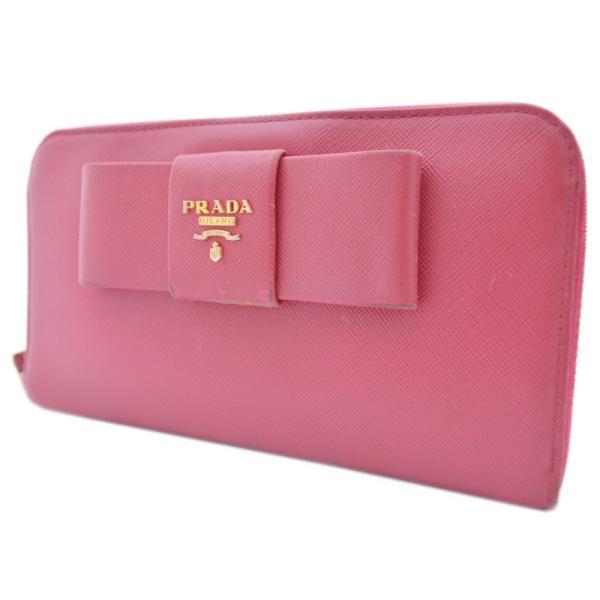 b17bd8f40293 プラダ 二つ折り リボン 長財布 レディース 型押しレザー ピンク 1M0506 ...
