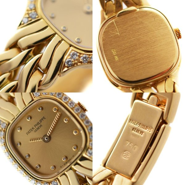 パテックフィリップ ラフラム クォーツ レディース腕時計 4715/002 イエローゴールド K18YG 12P ダイヤモンド ダイヤベゼル シャンパン文字盤 中古