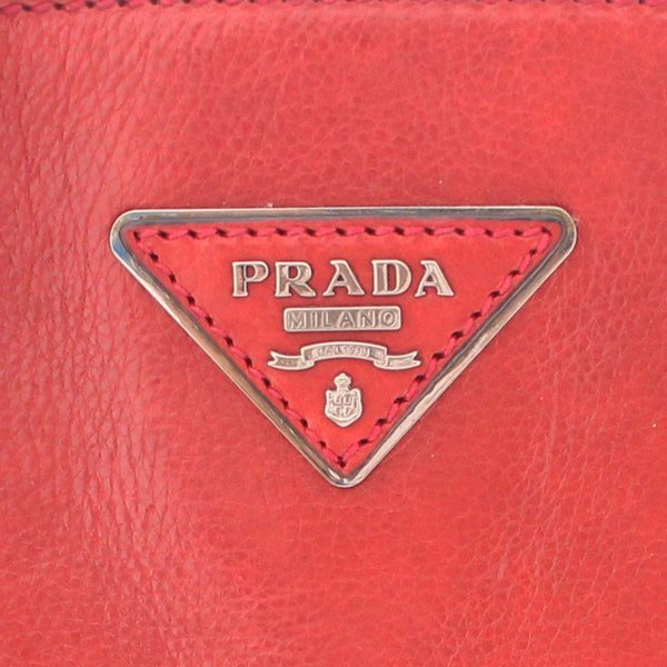 プラダ 2WAY トートバッグ レディース レザー レッド シルバー金具 B2625M 中古 送料無料