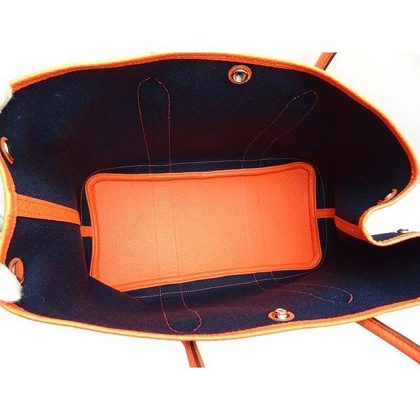 新古品 エルメス ガーデンパーティPM トートバッグ ハンドバッグ ブルーマリーン オレンジ トワルミリタリー ヴァッシュカントリー 069575CKAA