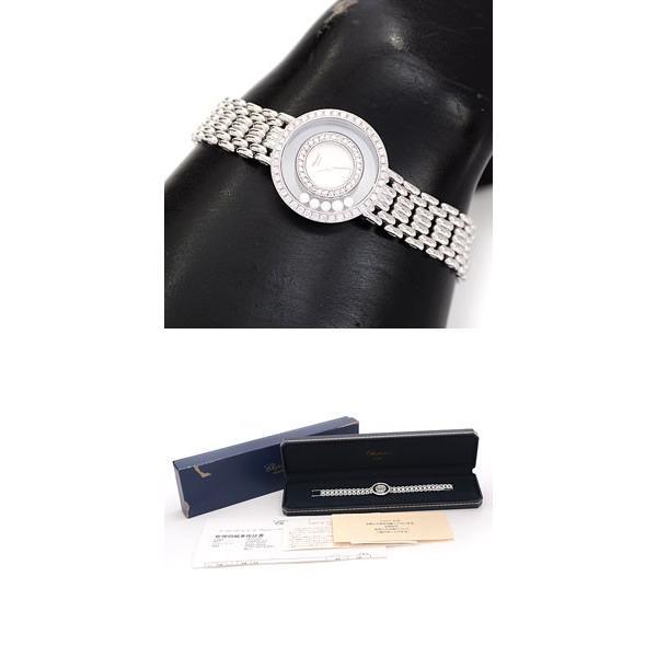 ショパール Chopard ハッピーダイヤモンド 2重ダイヤベゼル 5Pムービングダイヤ レディース 電池式 750WG ホワイトゴールド 4119 1 中古