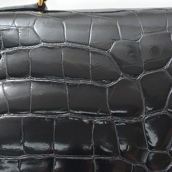 エルメス HERMES バッグ ケリー35 アリゲーター 外縫い ブラック 2way