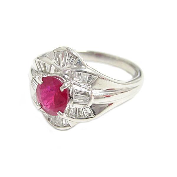 ジュエリー ルビー ダイヤモンド リング 指輪 PT900 プラチナ×ルビー(1.10ct)×ダイヤモンド(0.51ct)  ランクA 13号