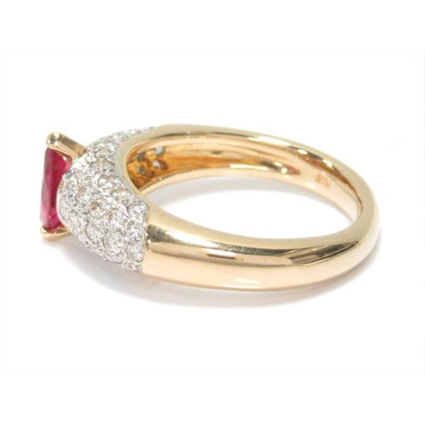 ジュエリー ルビーリング 指輪 K18YG(750) イエローゴールドxルビー(0.63ct)xダイヤモンド(0.39ct) ランクA 11号