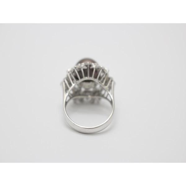 ジュエリー ブラックパール ダイヤモンド リング 指輪 ブラック×クリアー ランクA 15号