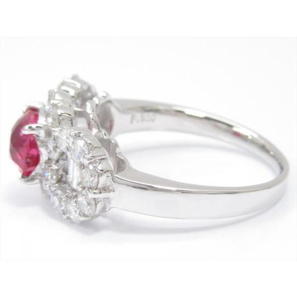 ジュエリー ルビーリング 指輪 PT900 プラチナxルビー(1.275ct)xダイヤモンド(1.24ct) ランクA 11.5号