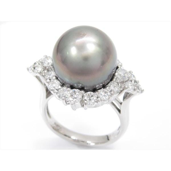 ジュエリー パールリング 指輪 PT900 プラチナxパールxダイヤモンド(1.50ct) ランクA 13号