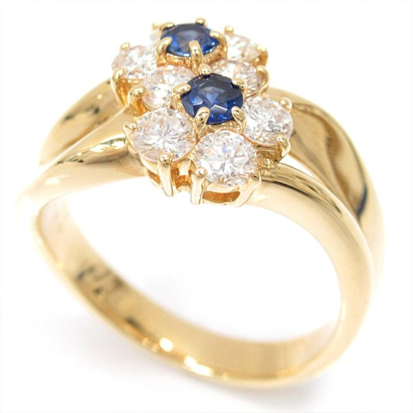 ジュエリー サファイアリング 指輪 K18YG(750) イエローゴールドxサファイア(0.22ct)xダイヤモンド(0.70ct)  ランクA