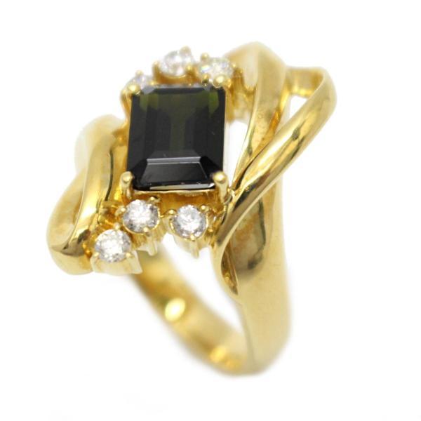 ジュエリー グリーントルマリン ダイヤモンド リング 指輪 グリーン×クリアー  ランクA 11号