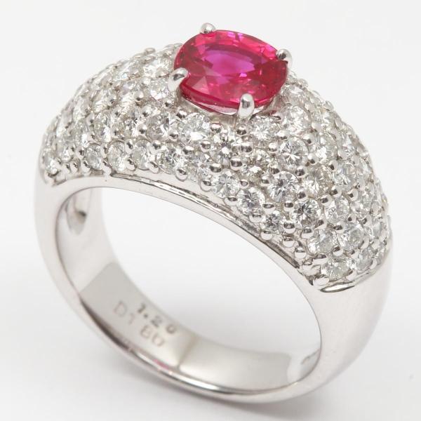 ジュエリー ルビー ダイヤモンド リング 指輪 PT900 プラチナ x ルビー(1.20ct) x ダイヤモンド(1.80ct)  ランクA 11号