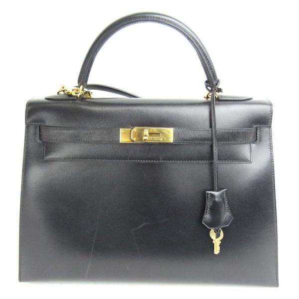 エルメス ケリー32 外縫い 2wayハンドバッグ ブラック(金具:ゴールド) ボックスカーフ  ランクA