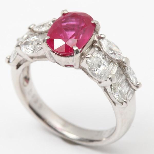 ジュエリー ルビー ダイヤモンド リング 指輪 PT900 プラチナ x ルビー(2.12ct) x ダイヤモンド(1.33ct) ランクA 11号