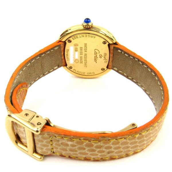 カルティエ マストトリニティ ウォッチ 腕時計 ホワイト リザード x GP(ゴールドメッキ) x シルバー925  ランクA
