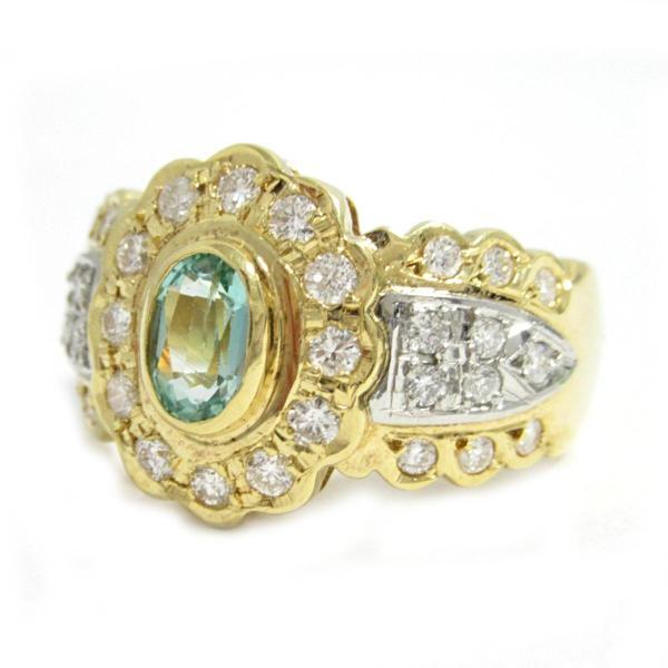 ジュエリー エメラルド リング 指輪 K18YG(750) イエローゴールド×エメラルド(0.36ct)×ダイヤモンド(0.51ct)  ランクB