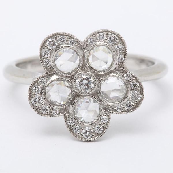 ティファニー コブルストーン フラワー ダイヤモンド リング 指輪 PT950 プラチナ x ダイヤモンド  ランクA 9号