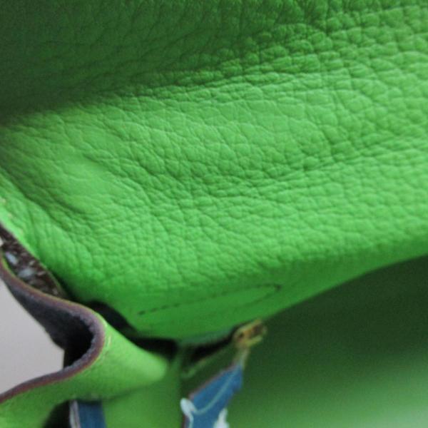 エルメス ケリー32・トリコロール 内縫い ハンドバッグ アップルグリーン x ジョーヌ x ブルータラサ(ゴールド金具) トリヨンクレマンス