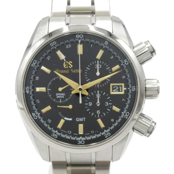 セイコーグランドセイコースプリングドライブGMTウォッチ腕時計シルバーチタンSBGC205ランクA