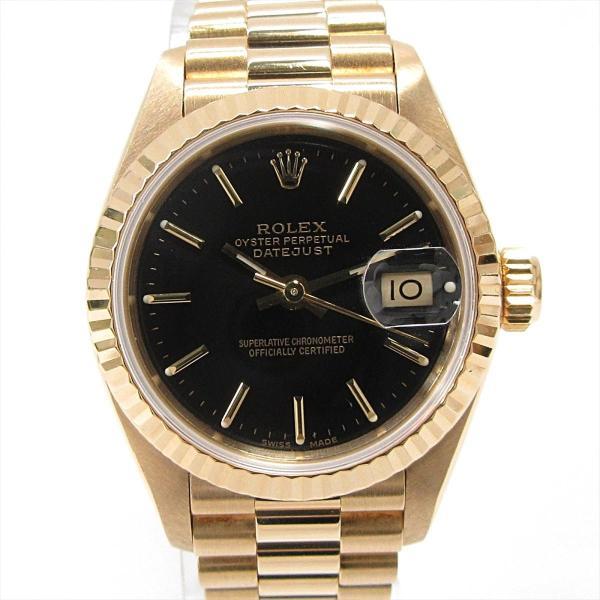 timeless design eebd2 f7add 残価据置型クレジット月々15,000円コース対象 ロレックス デイトジャスト 腕時計 ウォッチ ブラック K18YG(750)イエローゴールド  69178 ランクA