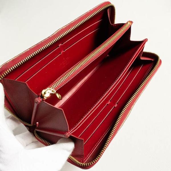 ルイヴィトン 長財布 LOUIS VUITTON 破格本物 ヴェルニ ジッピーウォレット ポムダムール 濃い赤 14898 中古 売れ筋 ポイント2倍 送料無料