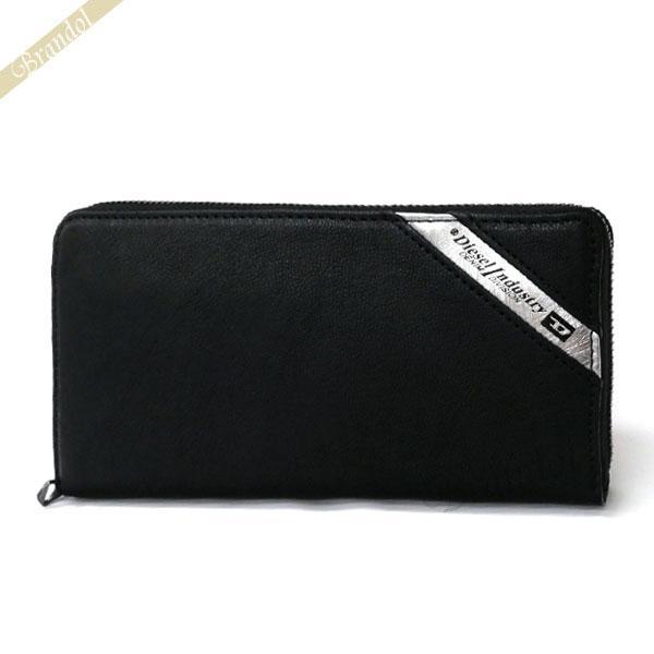 ディーゼル DIESEL メンズ ラウンドファスナー長財布 レザー ブラック×グレー X03609 P1221 H6168 [在庫品] brandol