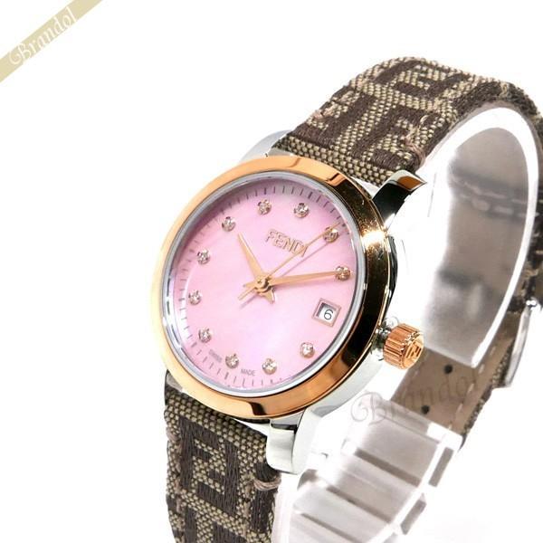 フェンディ FENDI レディース腕時計 ラウンド クラシコ 26mm ピンクパール×ベージュ F218272DF [在庫品]|brandol
