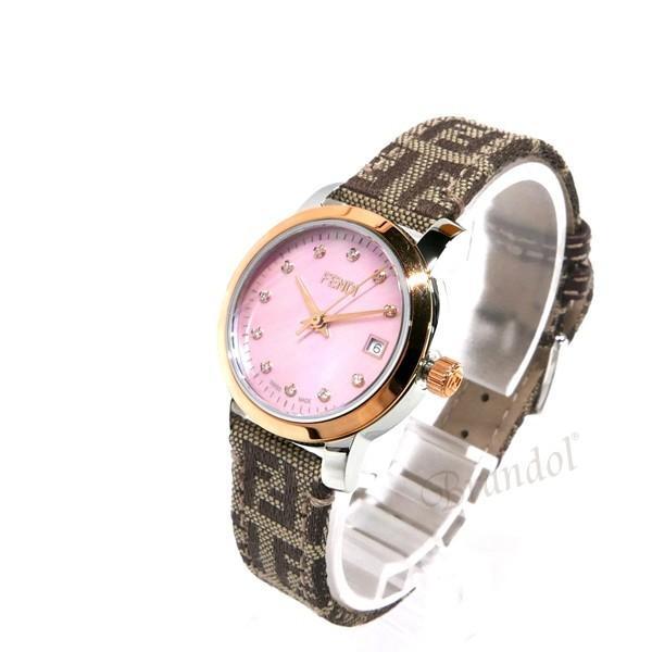 フェンディ FENDI レディース腕時計 ラウンド クラシコ 26mm ピンクパール×ベージュ F218272DF [在庫品]|brandol|02