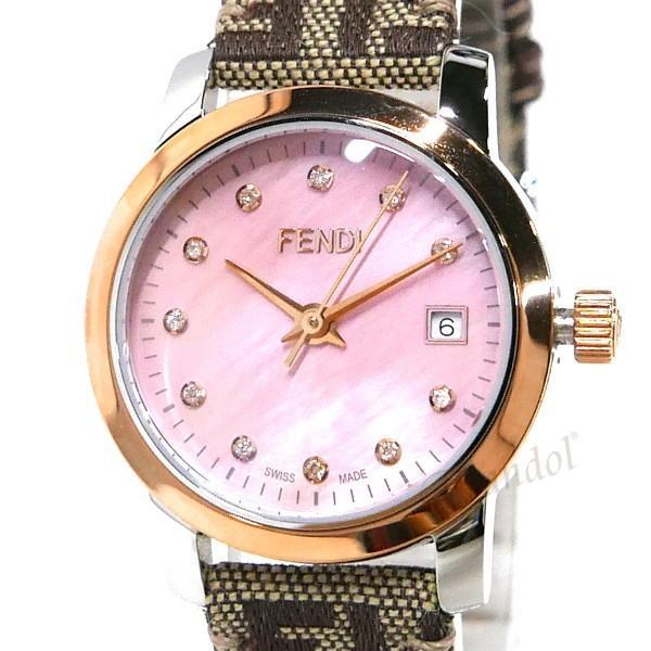 フェンディ FENDI レディース腕時計 ラウンド クラシコ 26mm ピンクパール×ベージュ F218272DF [在庫品]|brandol|03