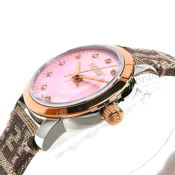 フェンディ FENDI レディース腕時計 ラウンド クラシコ 26mm ピンクパール×ベージュ F218272DF [在庫品]|brandol|04