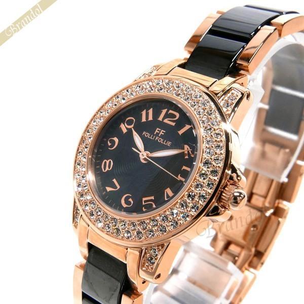 フォリフォリ Folli Follie レディース腕時計 30mm ブラック×ゴールド WF9B020BPK|brandol