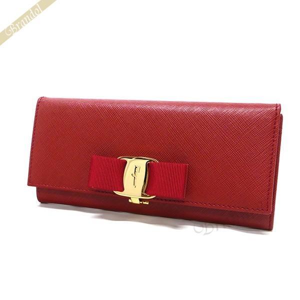 buy popular 95c19 b3970 フェラガモ Ferragamo 財布 レディース 長財布 ヴァラリボン レザー レッド 22 B559 0548920 ROSSO [在庫品]