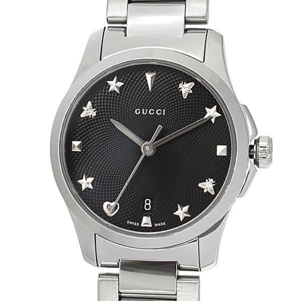グッチ GUCCI レディース腕時計 Gタイムレス G-Timeless 27mm ブラック×シルバー YA126573 [在庫品]